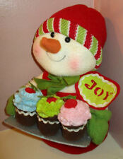 """Adorable 12"""" Christmas Snowman in the Kitchen Making Cupcakes Plush"""