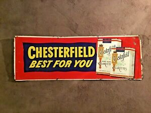 """VINTAGE 1950's CHESTERFIELD """"BEST FOR YOU"""" TIN CIGARETTE ADVERTISING SIGN -33x12"""
