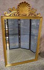 Large Adam's Style Gold Frame Wall Mirror w/Ornate Shell Motif