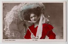 POSTCARD - Lily Elsie, Edwardian stage beauty, theatre actress, parasol, tinted