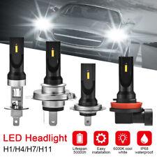 2 piezas H1 H4 H7 H11 LED Blanco Faro Coche Bombillas 6000K Mini Luces Headlight