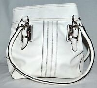 Ralph Lauren Chaps White Pebbled Faux Leather with Buckle Design Shoulder Bag