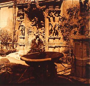 ITALIE Rome Palais Borghese Fontaine 1952Photo Stereo Plaque verre Vintage VR