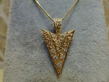 Vintage hand hammered 14k yellow gold diamond arrow pendant textured crafted