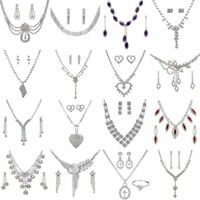 Prom Wedding Bridal Party Crystal Rhinestone Necklace Earring Jewelry Sets Gifts
