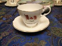 Vintage Regency Tea Cup and Saucer  The Flag Halliburton Ontario CANADA