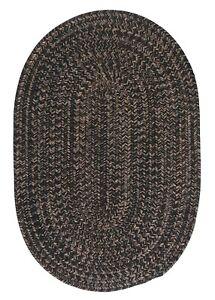 Hayward Heathered Black Wool Blend Country Farmhouse Oval Round Braided Rug