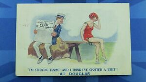 DOUGLAS Comic Postcard 1922 Horse Racing Betting Studying Form Bathing Beauty