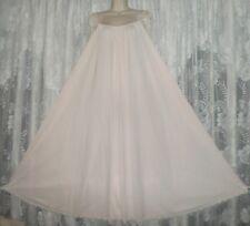 Vtg RARE Blush PINK LUCIE ANN SILKY NYLON TULIPS Nightgown Negligee GOWN XL+