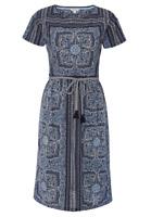 Ex White Stuff Indian Summer Dress Ink Blue Size 8 (W7.24)