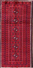 "VINTAGE Geometric TRIBAL Oriental Carpet Hand-Knotted RED 8' 1"" x 4' 5 Wool RUG"