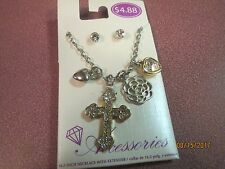 CHILD GIRLS FASHION JEWELRY SET NECKLACE WITH CROSS PENDANT AND CHARMS EARRINGS