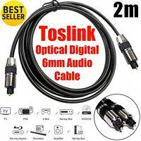 2m LONG TOSlink Optical Digital Audio Cable 6mm Lead for SoundBar,TV,HomeTheater