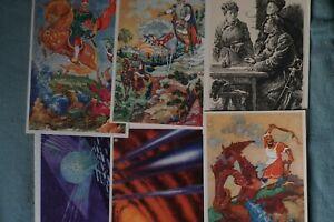 6 AK Zeichnungen Russland UdSSR - Kosmische Fantasien Drachenkampf Ilja Muromez