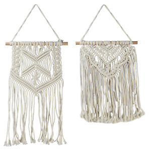 Set of 2 Macrame Wall Hangings Hanging Handwoven Wall Tapestry M&W
