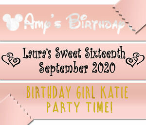 Personalised 80cm Banner Rose Gold - Birthday Party Hen Do Bride Baby Shower