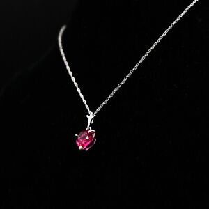New in Box 14k Gold Chain With 1 Gram Ruby Heart Pendant ≈1.60ctw -BBR1902