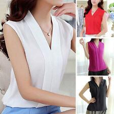 Women Casual Sleeveless Chiffon Shirt Fashion V Neck Loose Blouse Tops Shirts KN