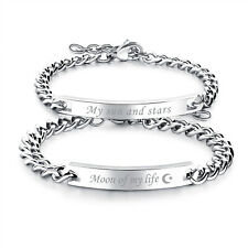 "2pcs Couples Stainless Steel ""My sun and stars""""Moon of my life"" Bracelet Chain"