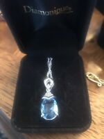 natural aquamarine necklace On 18 Inch Sterling Chain