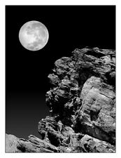 Idyllwild Full Moon And A Rock Night Scene Black & White 12 x 16 Fine Art Print