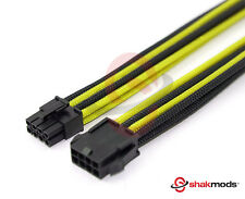 8 Pin ATX CPU 30cm Extension Cable Black Yellow Sleeved Shakmods + 2 Cable Combs