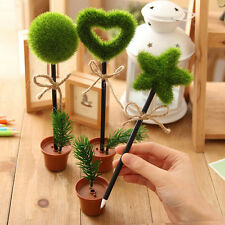 Novelty Green Grass Flower Pot Ball Point Ballpoint Pens Stationery Writing Kit.