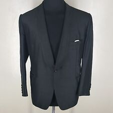TRUE VINTAGE BESPOKE RARE 100% PURE RAW SILK BLACK TUXEDO APPROX. 47 SHORT