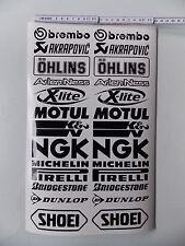 26 Teilig - Motorrad Sponsoren Aufkleber - Set 10cm- schwarz - a. Farben möglich