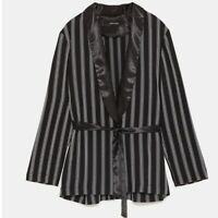 ZARA STRIPED KIMONO XS NWT BLACK WHITE stripe blazer jacket satin 8741/220/084