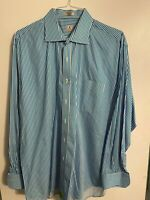 Peter Millar Size XL Button Blue White Shirt Striped Cotton