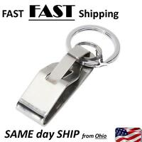 Security Belt Key Ring Clip On & Release Keychain Key Holder Stainless Steel New
