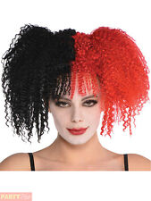 Ladies Black Red Jesterina Wig Adult Evil Jester Halloween Fancy Dress Accessory