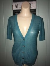 Mossimo Button Cardigan Turquoise XS Short Sleeve