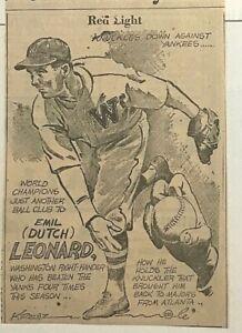 "1939 newspaper panel ""Red Light"" - Emil ""Dutch"" Leonard, Washington Senators"