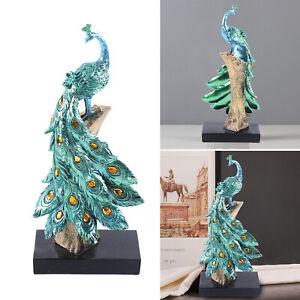 Pfau Dekor Skulptur Ornament Peacock Harz Dekor Figur Statue Blau Wohnkultur