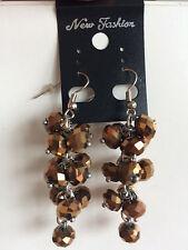 Elegant Bronze Faceted acrylic Crystal rhynestones Dangle Drop Earrings