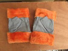 Arancione Grigio Dito meno Pelle Di Pecora Pelle Di Pecora Guanti Invernali Unisex