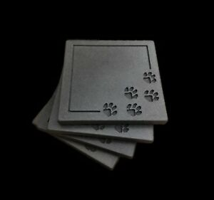Paws Cat or Dog Drink Coasters Cement Cup Mat Gift present - Dark Grey Colour