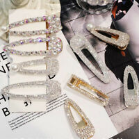 Women Girl Crystal Rhinestone Hair Clip Snap Alloy Barrette Hairpin Headwear