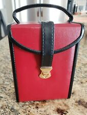 Wolf Jewelry Box Red and Black Leather with Gold hardware
