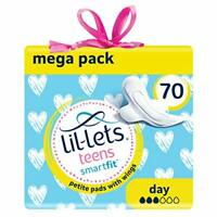 Lil-Lets Teens Day Pads 70 Petite Pads with Wings 5 Packs of 14 Pads (Total 70)