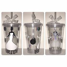 Vaso de Boda de Novia Personalizado Taza con Tapa Y Paja