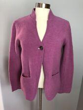 Eileen Fisher SZ M Cardigan Jacket Wool Blend Single Button Lilac Purple Career