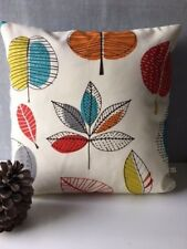"""Beautiful 16"""" x 16"""" Abstract Leaf Pattern Cushion Cover in Cream and Oranges"""