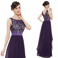 Purple Bridesmaid Evening Gown Formal Party Prom Dress Lace Long Maxi Dresses
