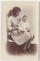 SEATED MOTHER & BABY - Nainby / Alford - Lincolnshire - c1910s era RP postcard