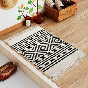 Black and white hand-woven cotton modern washable tassel rug, boho style