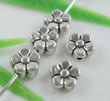 100pcs Tibetan Silver Flower Spacer Beads Finding 3x6mm  (Lead-free)