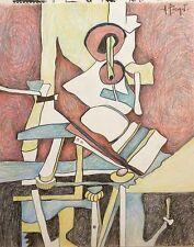 Andre Pierret dessin crayon signé Bruxelles expressionnisme Paul Delvaux
